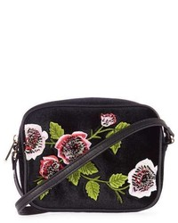 Velvet Floral Embroidered Crossbody Bag