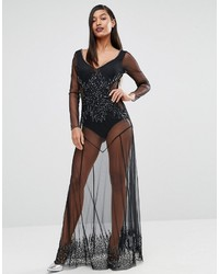 Boutique beaded sheer maxi dress medium 924115