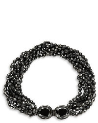 Kenneth Jay Lane Faceted Jet Bead Multi Row Necklace