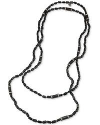 Carolee Hematite Tone Jet Squared Bead And Pav Long Necklace