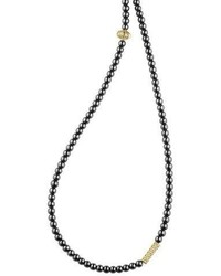 Lagos Icon Beaded Hematite Station Necklace 34