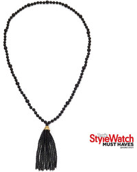 Kenneth Jay Lane Bijoux Bar Kjl By Black Bead Tassel Necklace