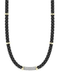 Lagos Black Caviar 5mm Beaded Diamond Bar Necklace