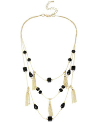 Mixit Mixit Black Bead Gold Tone Illusion Tassel Necklace