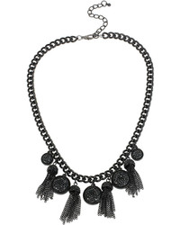 Mixit Mixit Black Caviar Bead And Chain Tassel Necklace