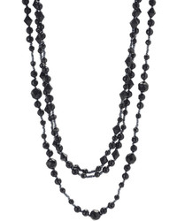 jcpenney Mixit Triple Strand Jet Black Bead Necklace