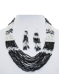 Cara Accessories Multi Strand Necklace And Earring Set