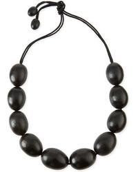 Natori Acacia Wooden Bead Necklace Black