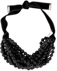 Saint Laurent Yves Black Bead Choker Necklace