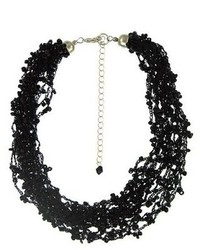 Sterling Silver Bead Multi Strand Necklace Black 18