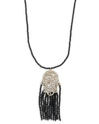 Beaded tassel hamsa pendant necklaceblack medium 1160843