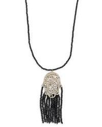 Natasha Beaded Tassel Hamsa Pendant Necklaceblack