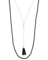 Beaded Y Drop Suede Tassel Necklace