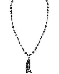 Lauren Ralph Lauren Hematite Tone Beaded Tassel Pendant Necklace