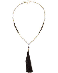 Panacea Long Beaded Tassel Pendant Necklace Black