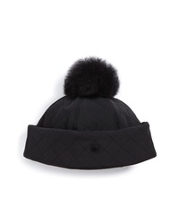UGG Australia Water Resistant Quilted Hat With Genuine Shearling Pompom