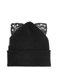 Bad Kitty Beanie Hat With Lace Ears