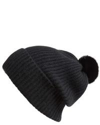 Badgley Mischka Rib Knit Beanie With Genuine Mink Pompom