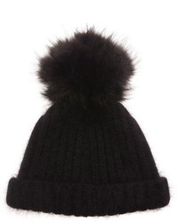 Bally Black Beanie Hat With Fur Pom Pom Color Black