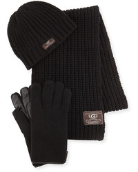 UGG Beanie Scarf And Glove Box Set Black