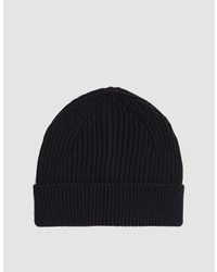 Beanie Short Knitted Hat In Black