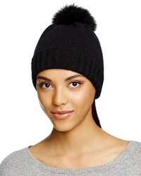 Bettina Cashmere Beanie With Fox Fur Pom Pom