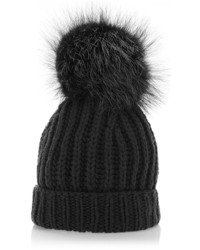 Dolce & Gabbana Black Cashmere And Fox Fur Beanie