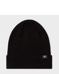 Paul Smith Black Merino Wool Beanie Hat