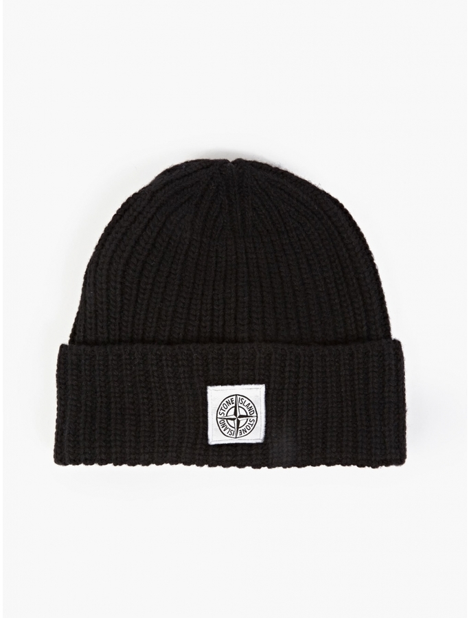 ae543b6730561 ... Stone Island Black Ribbed Beanie Hat ...