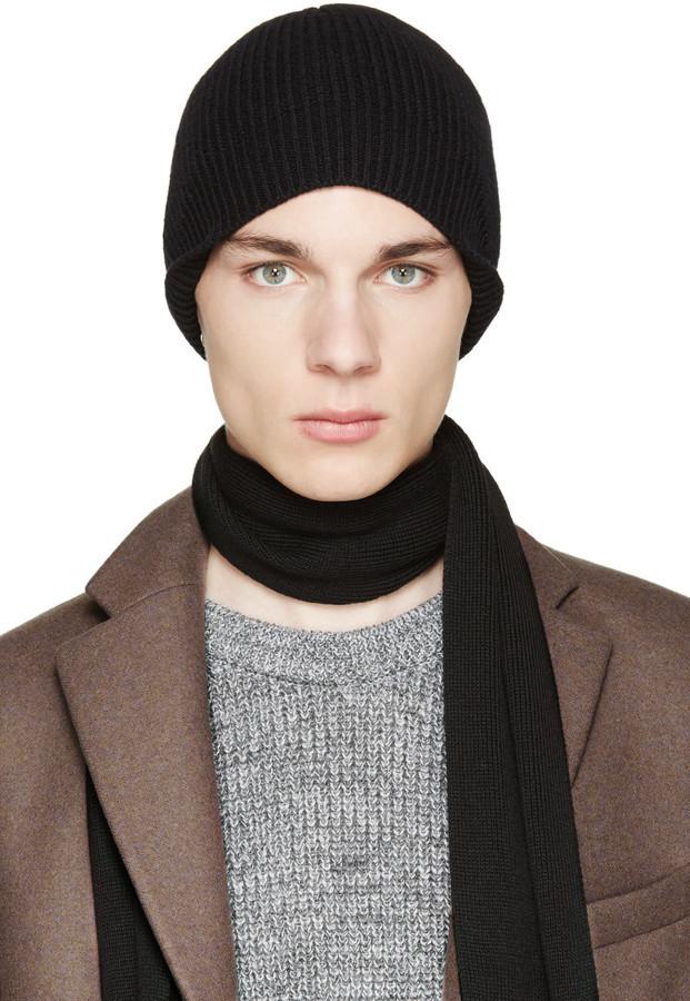 9d8e61e3634e ... Lanvin Black Wool Beanie ...