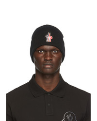 MONCLER GRENOBLE Black Wool Jersey Beanie