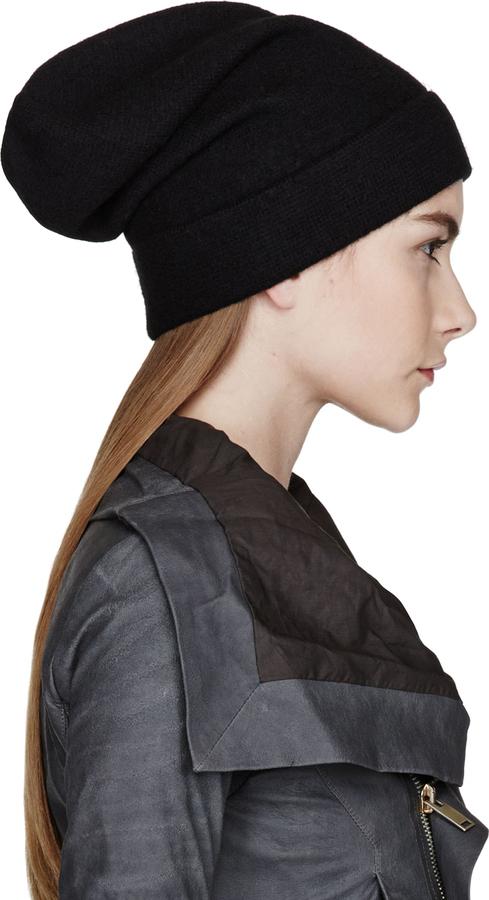 fbf56b630d8df1 Rick Owens Black Wool Oversize Beanie, $245 | SSENSE | Lookastic.com