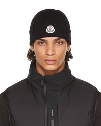 Moncler Black Wool Rib Beanie