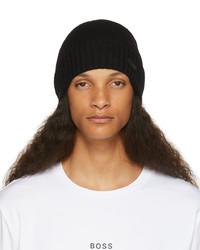 BOSS Black Wool Ribbed Beanie