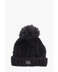 Boohoo Boys Cable Turn Up Bobble Beanie