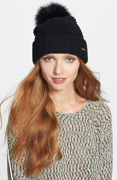 Burberry Genuine Blue Fox Fur Pompom Beanie Ivory