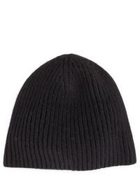 Portolano Cashmere Ribbed Beanie Hat Black