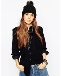 5b0458e69bc ... Asos Collection Fine Knit Faux Fur Pom Beanie