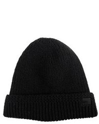 Dibi Black Cable Knit Fur Lined Beanie