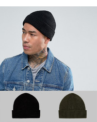 Asos Fisherman Beanie 2 Pack In Black And Khaki Save