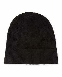Rebecca Minkoff Garter Stitched Headphone Beanie Hat Black