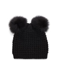 KYI KYI Genuine Fox Poms Hat