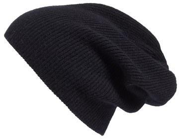 Halogen Slouchy Cashmere Beanie Black