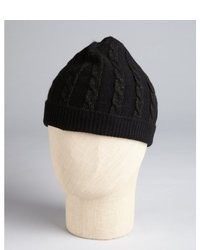 Hayden Black And Gold Cashmere Lurex Cable Knit Beanie
