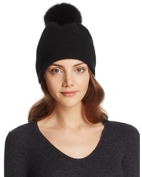 Helene Berman Wool Slouch Beanie With Fox Fur Pom Pom