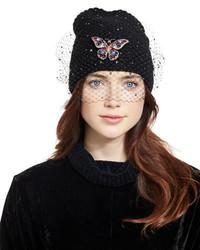 Jennifer Behr Mariposa Voilette Cashmere Beanie Hat Black