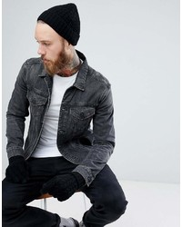 Asos Lambswool Fisherman Beanie Gloves Boxed Gift Set In Black