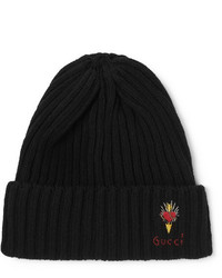 Gucci Logo Embroidered Ribbed Wool Beanie
