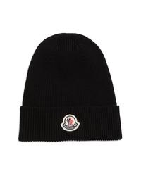 Moncler Logo Patch Rib Wool Beanie