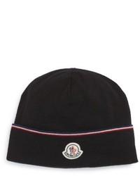 Moncler Logo Patch Wool Beanie Black